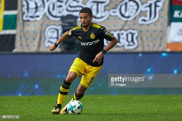 Jeremy Toljan of Dortmund controls the ball during the Bundesliga match between FC Augsburg and Borussia Dortmund at WWKArena on September 30 2017 in...
