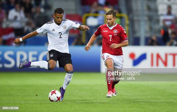 Jeremy Toljan of Germany and Andrew Hjulsager of Denmark during their UEFA European Under21 Championship 2017 match on June 21 2017 in Krakow Poland