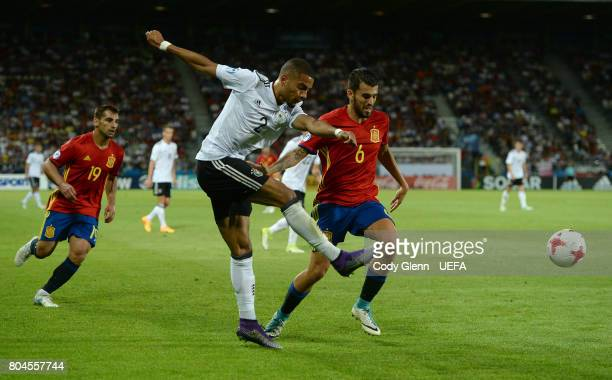 Jeremy Toljan of Germany and Dani Ceballos of Spain during their UEFA European Under21 Championship 2017 final match on June 30 2017 in Krakow Poland