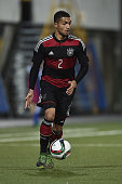 Jeremy Toljan of Germany controls the ball during the 2017 UEFA European U21 Championships Qualifier between U21 Faroe Islands and U21 Germany at...