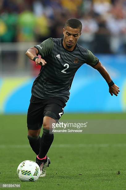 Jeremy Toljan of Germany controls the ball during the Men's Semifinal Football match between Nigeria and Germany on Day 12 of the Rio 2016 Olympic...