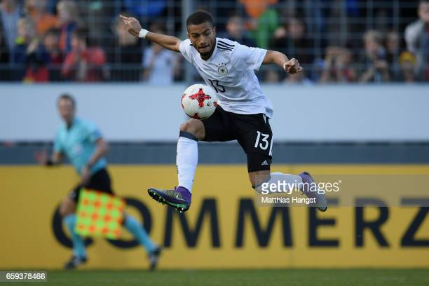 Jeremy Toljan of Germany controls the ball during the U21 International Friendly match between Germany U21 and Portugal U21 at GaziStadion auf der...