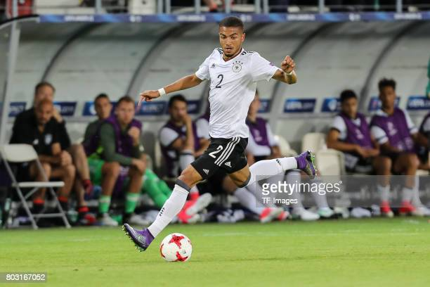 Jeremy Toljan of Germany in action during the UEFA European Under21 Championship Group C match between Germany and Denmark at Krakow Stadium on June...