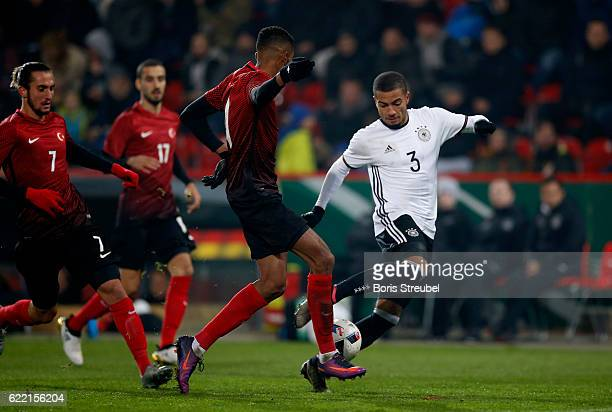 Jeremy Toljan of Germany is challenged by players during the International Friendly between U21 Germany and U21 Turkey at Stadion An der Alten...