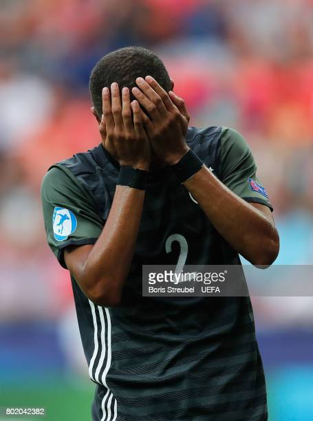 Jeremy Toljan of Germany reacts during the UEFA European Under21 Championship Semi Final match between England and Germany at Tychy Stadium on June...
