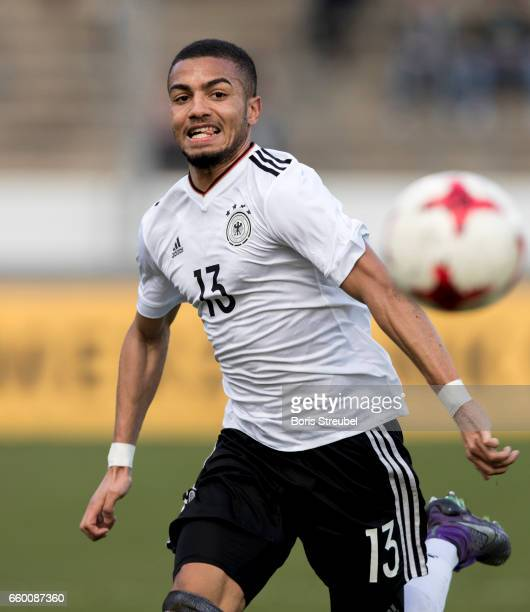 Jeremy Toljan of Germany runs with the ball during the International Friendly match between Germany U21 and Portugal U21 at GaziStadion on March 28...