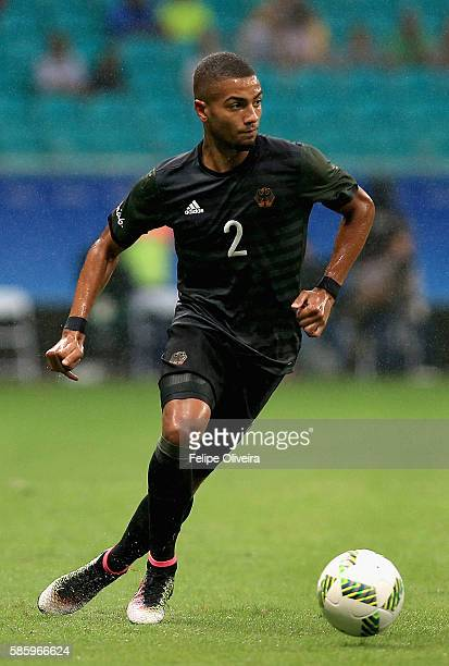 Jeremy Toljan of Germany runs with the ball during the Men's Group C first round match between Mexico and Germany during the Rio 2016 Olympic Games...