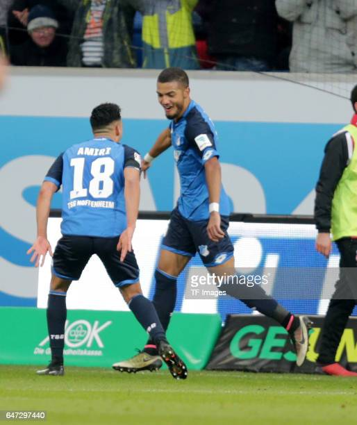 Jeremy Toljan of Hoffenheim celebrate the second goal during the Bundesliga match between TSG 1899 Hoffenheim and 1 FC Koeln at Wirsol...