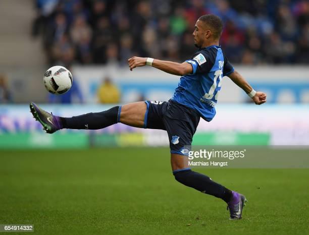 Jeremy Toljan of Hoffenheim controls the ball during the Bundesliga match between TSG 1899 Hoffenheim and Bayer 04 Leverkusen at Wirsol...