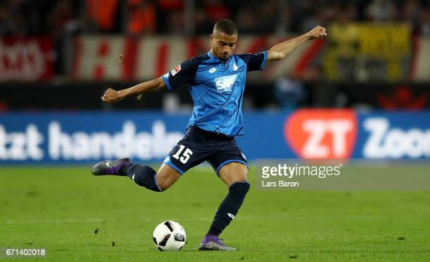 Jeremy Toljan of Hoffenheim runs with the ball during the Bundesliga match between 1 FC Koeln and TSG 1899 Hoffenheim at RheinEnergieStadion on April...
