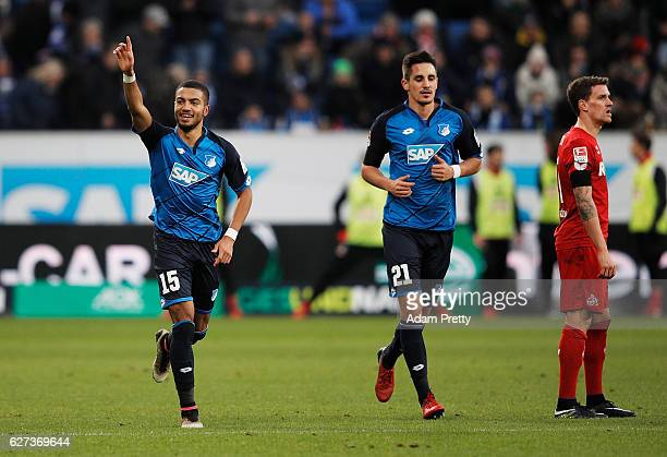Jeremy Toljan of TSG 1899 Hoffenheim celebrates scoring a goal during the Bundesliga match between TSG 1899 Hoffenheim and 1 FC Koeln at Wirsol...