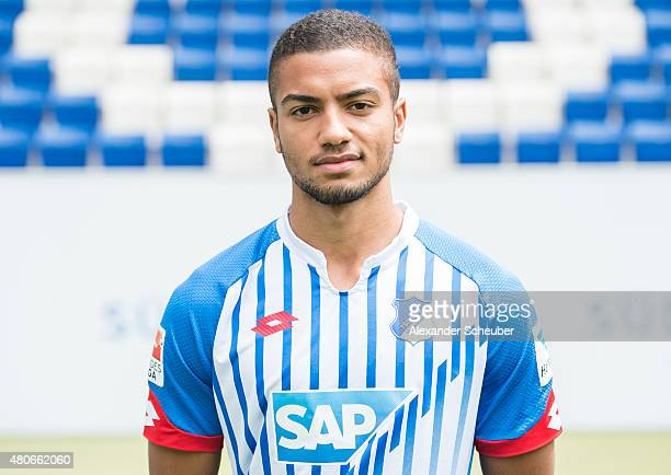 Jeremy Toljan poses during the team presentation of 1899 Hoffenheim at Wirsol RheinNeckarArena on July 14 2015 in Sinsheim Germany