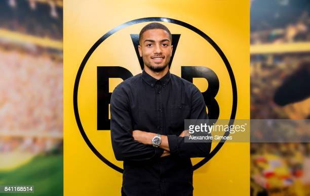 Jeremy Toljan signs a new contract with Borussia Dortmund on August 30 2017 in Dortmund Germany