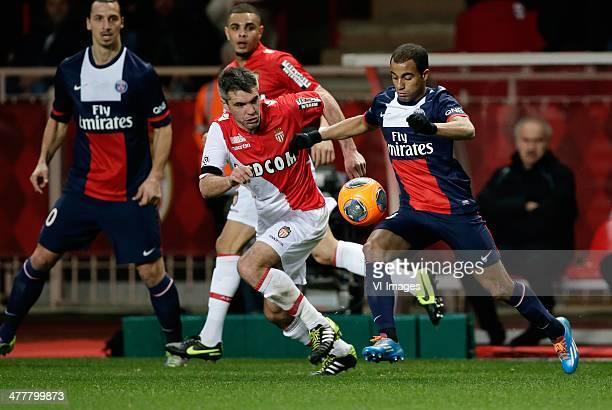 Jeremy Toulalan of AS Monaco Lucas of Paris Saint Germain during the France Ligue 1 match between AS Monaco and Paris SaintGermain at Stade Louis II...