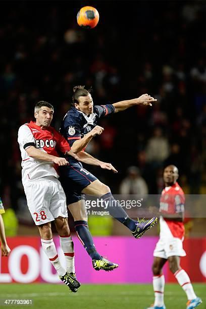 Jeremy Toulalan of AS Monaco Zlatan Ibrahimovic of Paris Saint Germain during the France Ligue 1 match between AS Monaco and Paris SaintGermain at...