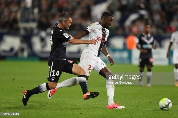 Jeremy Toulalan of Bordeaux and Marcus Thuram of Guingamp during the Ligue 1 match between FC Girondins de Bordeaux and EA Guingamp at Stade Matmut...