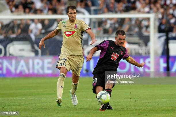 Jeremy Toulalan of Bordeaux and Marko Scepovic of Videoton in action during the UEFA Europa League qualifying match between Bordeaux and Videoton at...