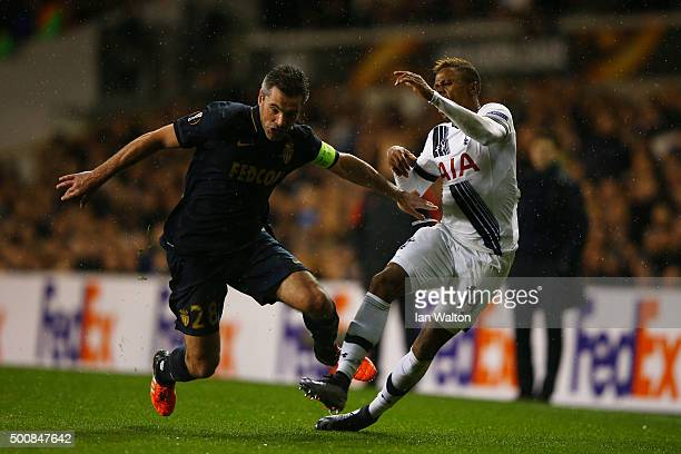 Jeremy Toulalan of Monaco fouls Clinton N'jie of Spurs for which he receives the yellow card during the UEFA Europa League Group J match between...