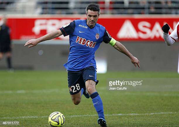 Jeremy Toulalan of Monaco in action during the French Ligue 1 match between Stade de Reims and AS Monaco at Stade Auguste Delaune on March 22 2015 in...
