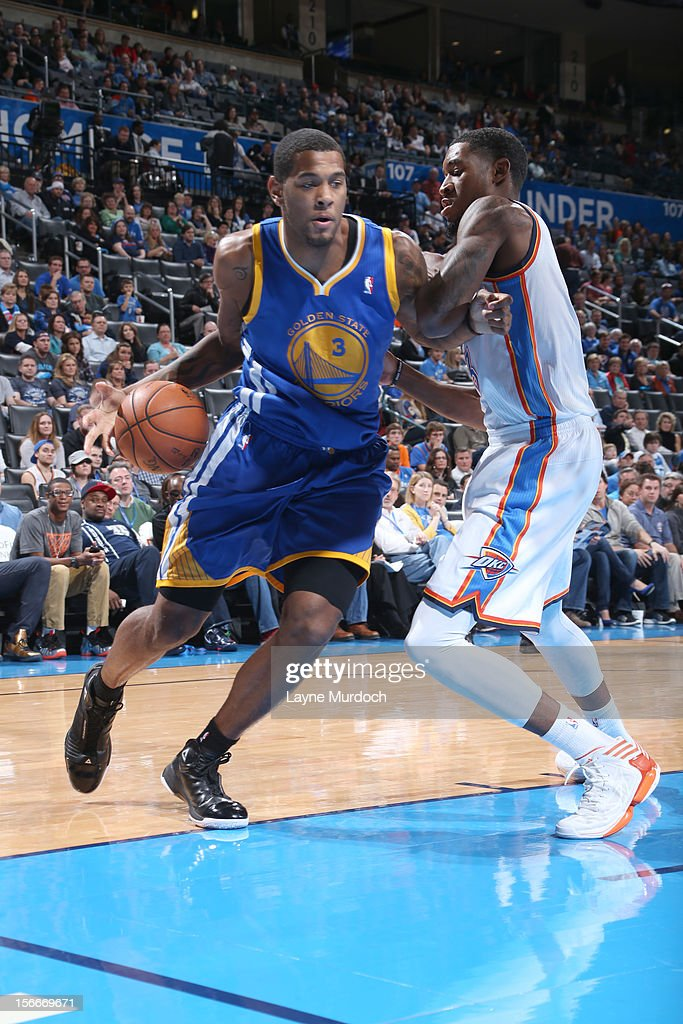 <a gi-track='captionPersonalityLinkClicked' href=/galleries/search?phrase=Jeremy+Tyler&family=editorial&specificpeople=5440865 ng-click='$event.stopPropagation()'>Jeremy Tyler</a> #3 of the Golden State Warriors drives under pressure during the game between the Oklahoma City Thunder and the Golden State Warriors on November 18, 2012 at the Chesapeake Energy Arena in Oklahoma City, Oklahoma.