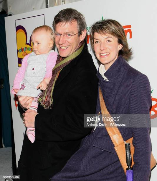 Jeremy Vine and family arrive on the white carpet for Playhouse Disney's Bunnytown Christmas Winter Wonderland party in central London