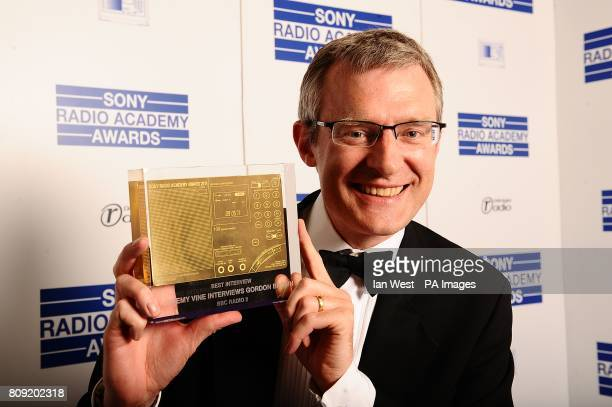 Jeremy Vine with the award for Best Interview at the Sony Radio Academy Awards 2011 at the Grosvenor House Hotel London