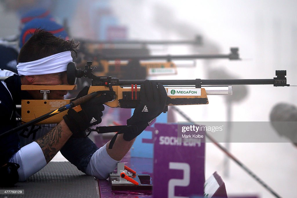 Jeremy Wagner of USA competes in the Men's Biathlon 125km Sitting during day four of Sochi 2014 Paralympic Winter Games at Laura Crosscountry Ski...