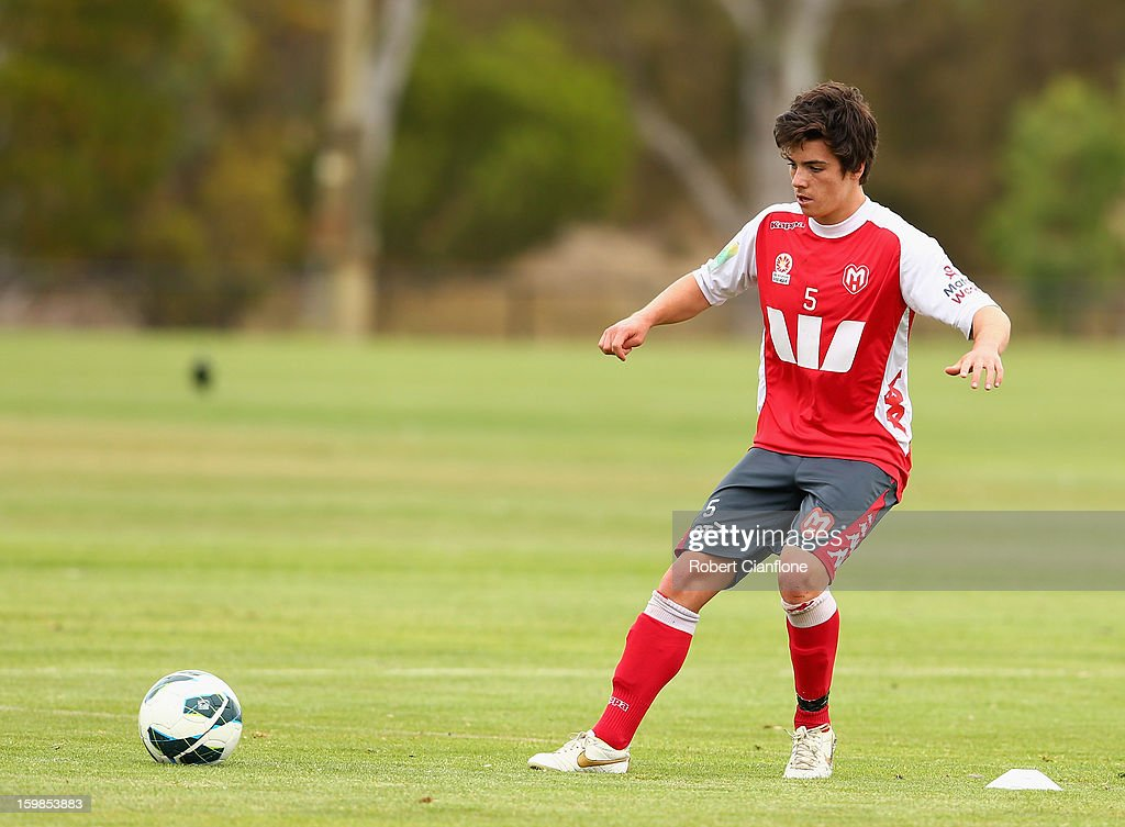 Jeremy Walker of the Heart kicks the ball during a Melbourne Heart A-League training session at La Trobe University Sports Fields on January 22, 2013 in Melbourne, Australia.