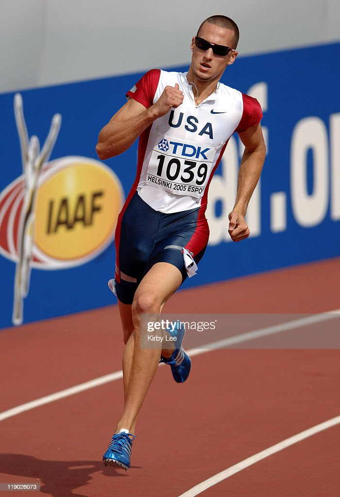 Jeremy Wariner of the United States wins first-round heat of men's 400 meters in 45.24 in the IAAF World Championships in Athletics at Olympic Stadium in Helsinki, Finland on Tuesday, August 9, 2005.