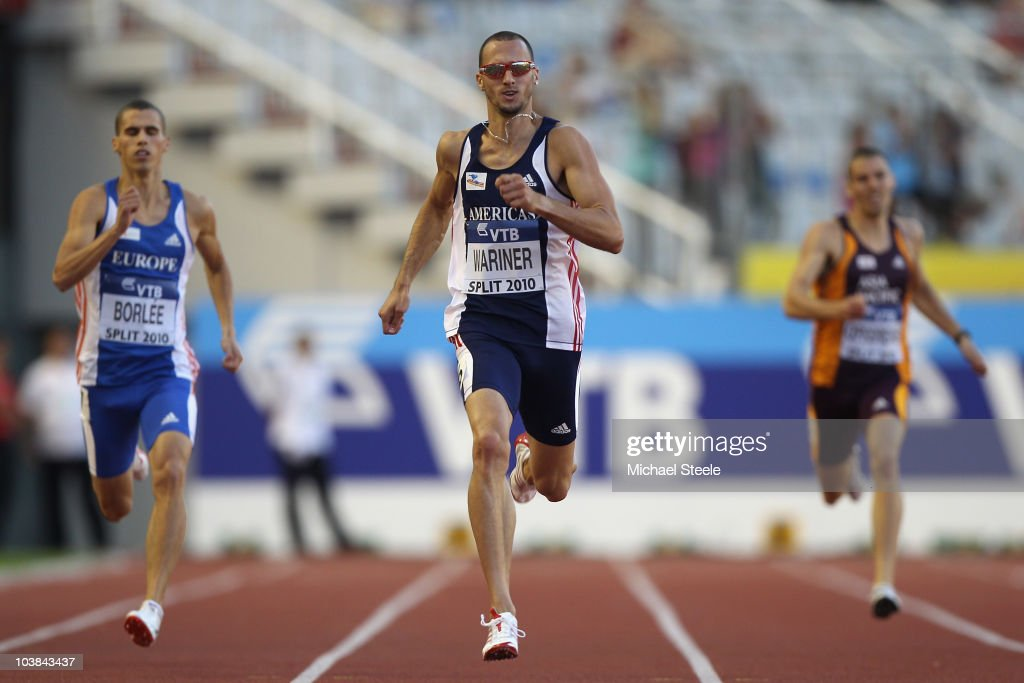 Jeremy Wariner (c) of USA and Team Americas wins the men's 400m during the IAAF/VTB Continental Cup at the Stadion Poljud on September 4, 2010 in Split, Croatia.