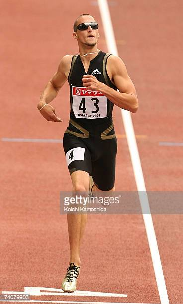 Jeremy Wariner of USA competes in the men's 400metre during the 2007 Osaka Grand Prix Athletics at Nagai Stadium May 5 2007 in Osaka Japan