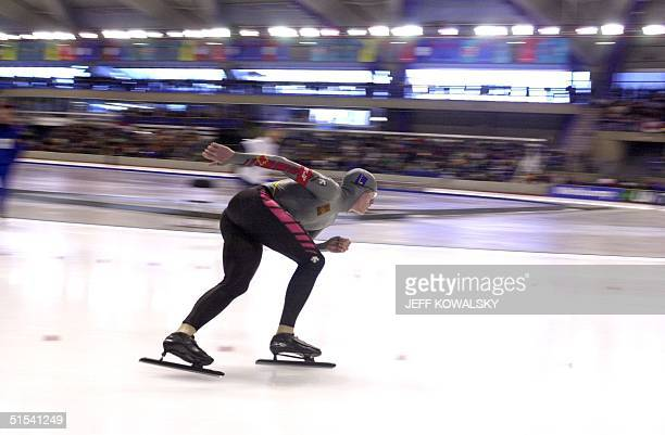 Jeremy Wotherspoon of Canada competes in the Mens 1000 meter in the ISU Word Cup at the Olympic Oval in Calgary on 30 January 2000 He placed first...