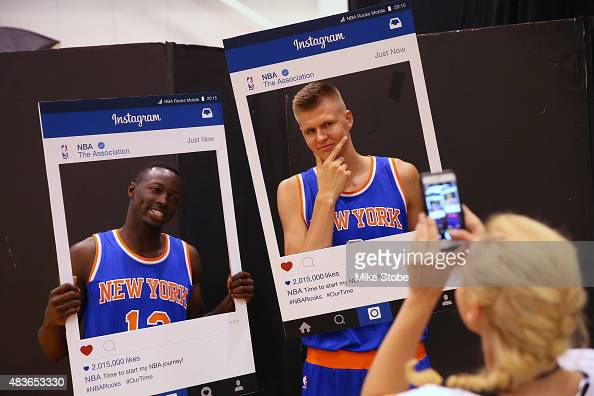 Jerian Grant and Kristaps Porzingis of the New York Knicks poses for a social media portrait during the 2015 NBA rookie photo shoot on August 8 2015...