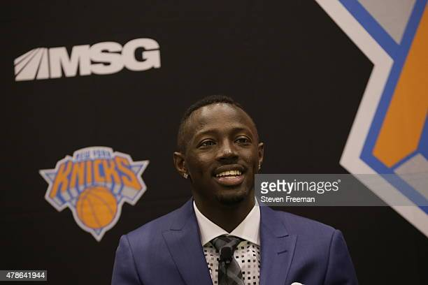Jerian Grant first round Draft pick of the New York Knicks speaks to the media at the Madison Square Garden Training Facility on June 26 2015 in...