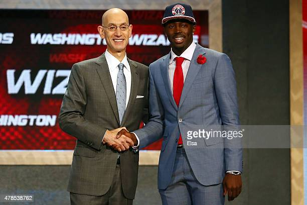 Jerian Grant meets with Commissioner Adam Silver after being selected 19th overall by the Washington Wizards in the First Round of the 2015 NBA Draft...
