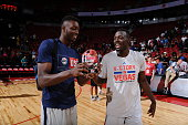 Jerian Grant of the Chicago Bulls celebrates with his brother Jerami Grant of the Philadelphia 76ers after being awarded the Championship Game MVP...
