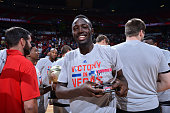 Jerian Grant of the Chicago Bulls celebrates with the 2016 Samsung Summer League Championship Game MVP Award after the game against the Minnesota...