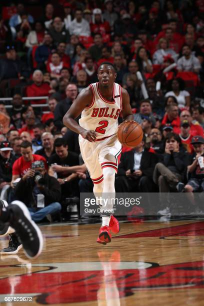 Jerian Grant of the Chicago Bulls dribbles the ball up court against the Brooklyn Nets on April 12 2017 at the United Center in Chicago Illinois NOTE...