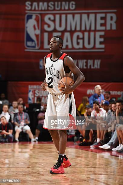 Jerian Grant of the Chicago Bulls handles the ball against the Dallas Mavericks during the 2016 NBA Las Vegas Summer League game on July 14 2016 at...