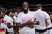 Jerian Grant of the Chicago Bulls is awarded the Championship Game MVP after winning the Summer League Championship against the Minnesota...