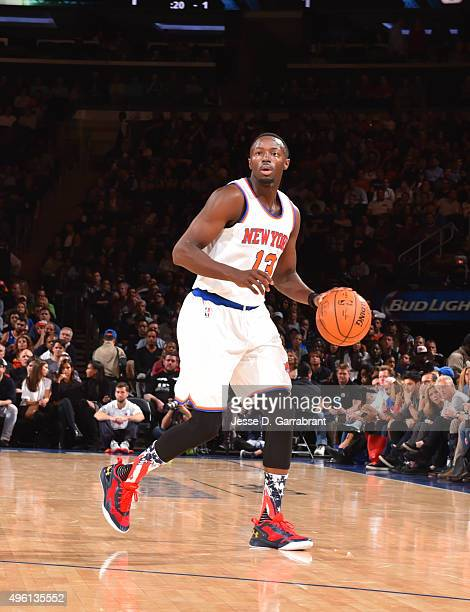 Jerian Grant of the New York Knicks dribbles the ball against the Milwaukee Bucks at Madison Square Garden on November 6 2015 in New YorkNew York...
