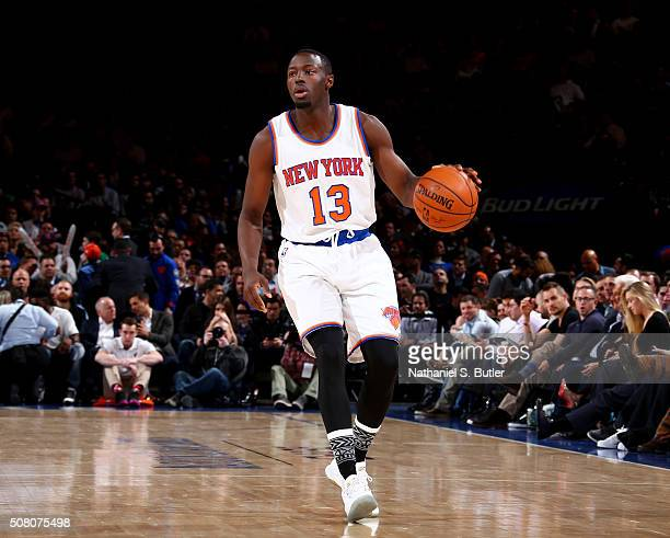 Jerian Grant of the New York Knicks drives to the basket against the Boston Celtics during the game on February 2 2016 at Madison Square Garden in...