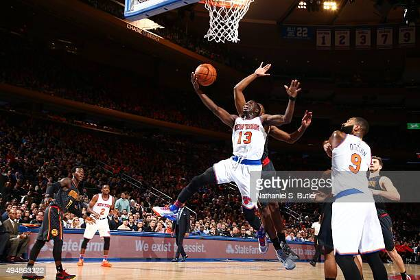 Jerian Grant of the New York Knicks goes to the basket against the Atlanta Hawks on October 29 2015 at Madison Square Garden in New York City NOTE TO...