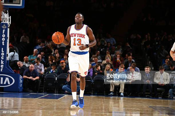 Jerian Grant of the New York Knicks handles the ball against Paschoalotto/Bauru during a preseason game on October 7 2015 at Madison Square Garden in...