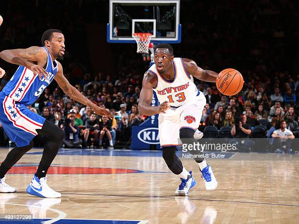 Jerian Grant of the New York Knicks handles the ball against the Philadelphia 76ers on October 12 2015 at Madison Square Garden in New York City NOTE...