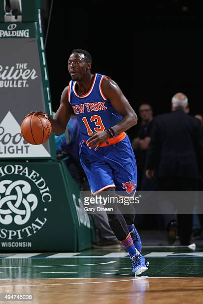 Jerian Grant of the New York Knicks handles the ball against the Milwaukee Bucks on October 28 2015 at the BMO Harris Bradley Center in Milwaukee...