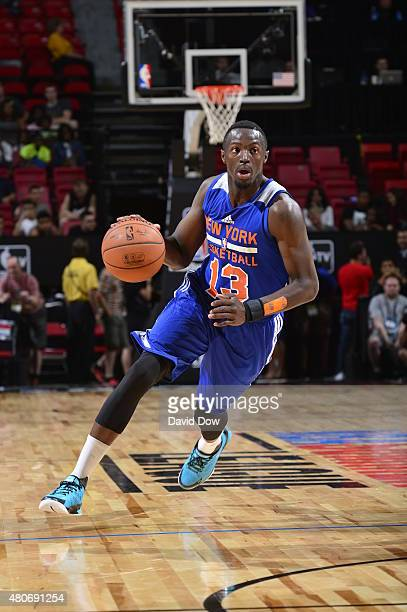 Jerian Grant of the New York Knicks handles the ball against the Philadelphia 76ers during the 2015 NBA Las Vegas Summer League game on July 14 2015...