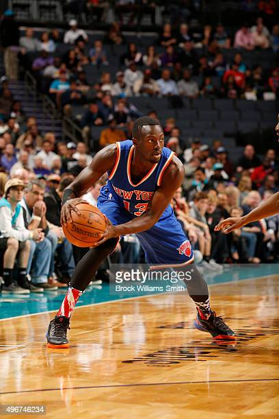 Jerian Grant of the New York Knicks handles the ball against the Charlotte Hornets during the game at the Time Warner Cable Arena on November 11 2015...