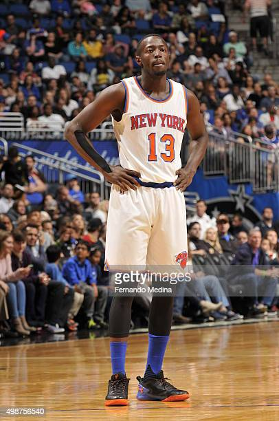 Jerian Grant of the New York Knicks looks on during the game against the Orlando Magic on November 25 2015 at Amway Center in Orlando Florida NOTE TO...