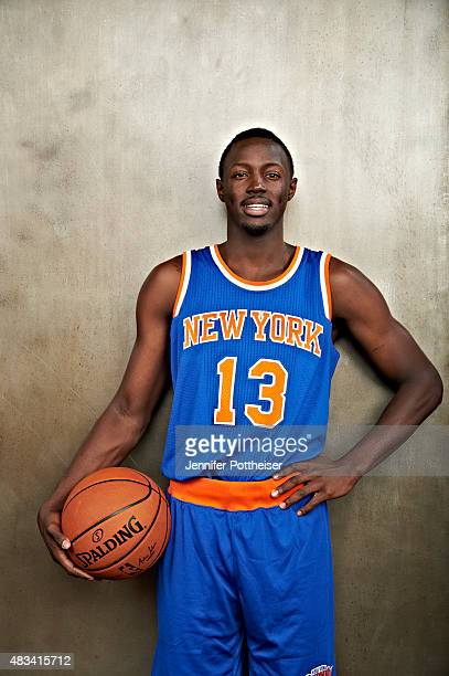 Jerian Grant of the New York Knicks poses for a portrait during the 2015 NBA rookie photo shoot on August 8 2015 at the Madison Square Garden...